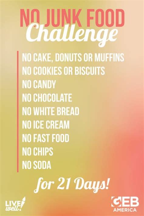 """We're challenging you to take on the """"No Junk Food"""