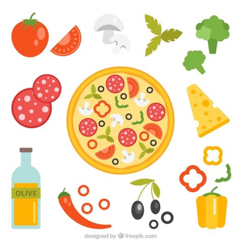 Ingredients of pizza on a white background Vector   Free