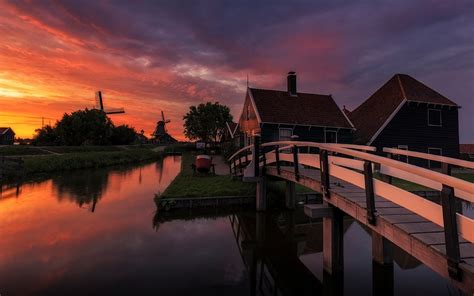 Sunset Farm In Netherlands House And Wooden Bridge Channel